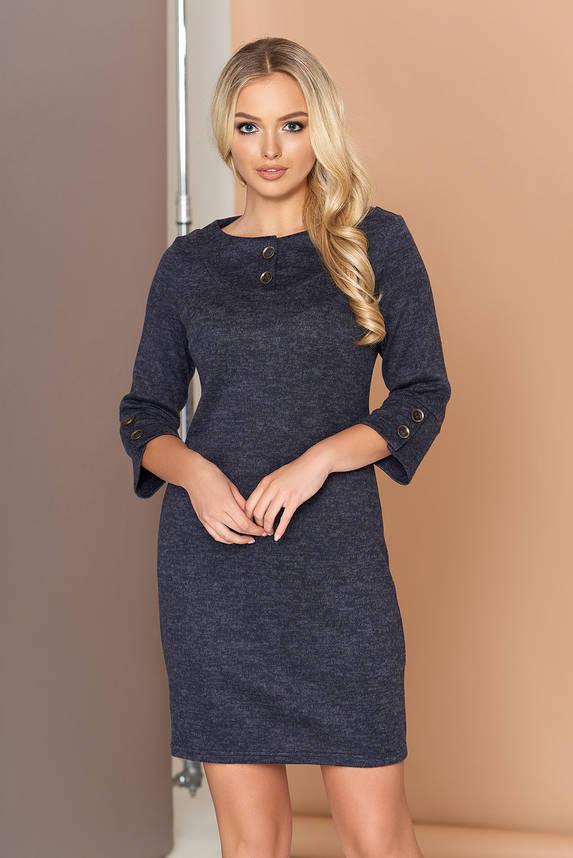 Платье трикотажное с кокеткой 44-50р синее, фото 2