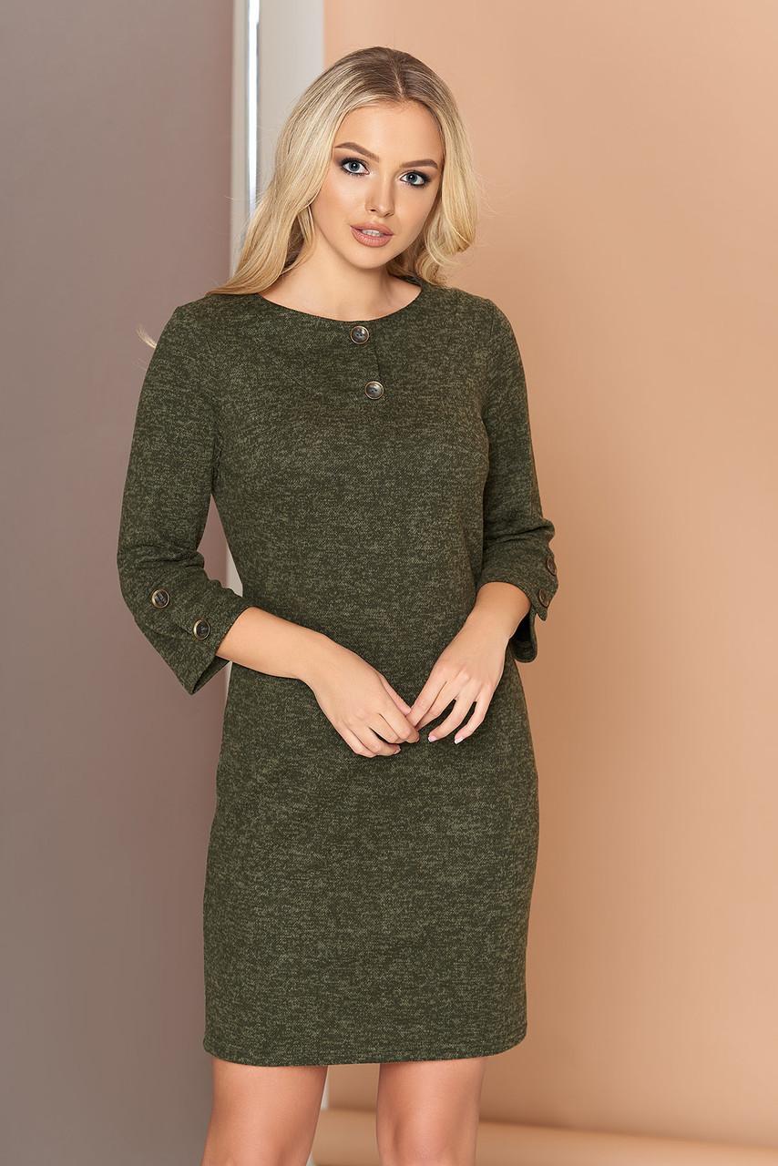 Платье трикотажное с кокеткой 44-50р хаки