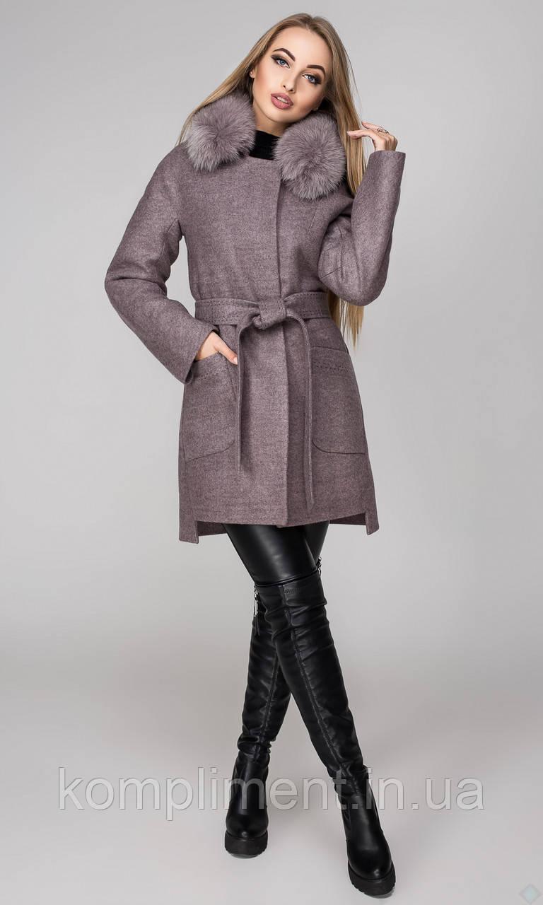 """Пальто женское зимнее с утеплителем """"Бельгия"""",PB2394 серый+ розовый"""