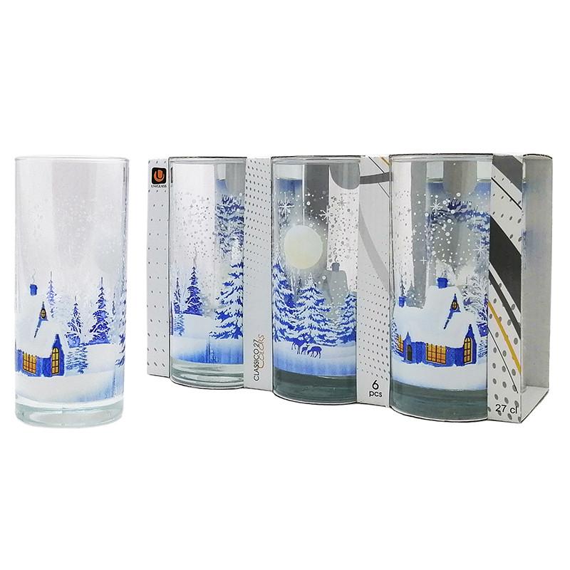 Набор стаканов Uniglass Classico Chrismas Cottage 270 мл 6 шт. высокие