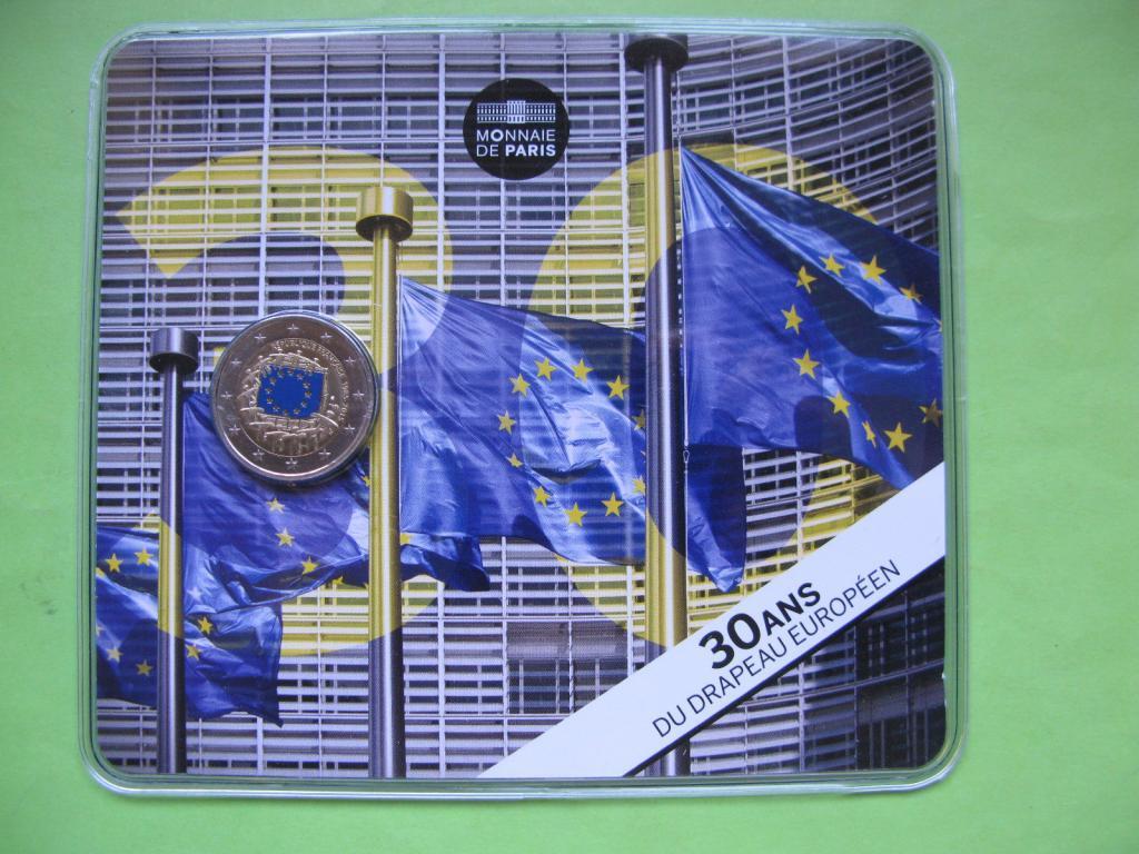 Франция 2 евро 2015 г. 30 лет флагу Европы .