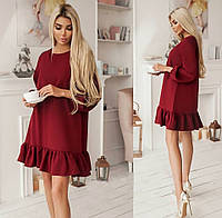 женское стильное платье свободного кроя с воланом (жіноча сукня )