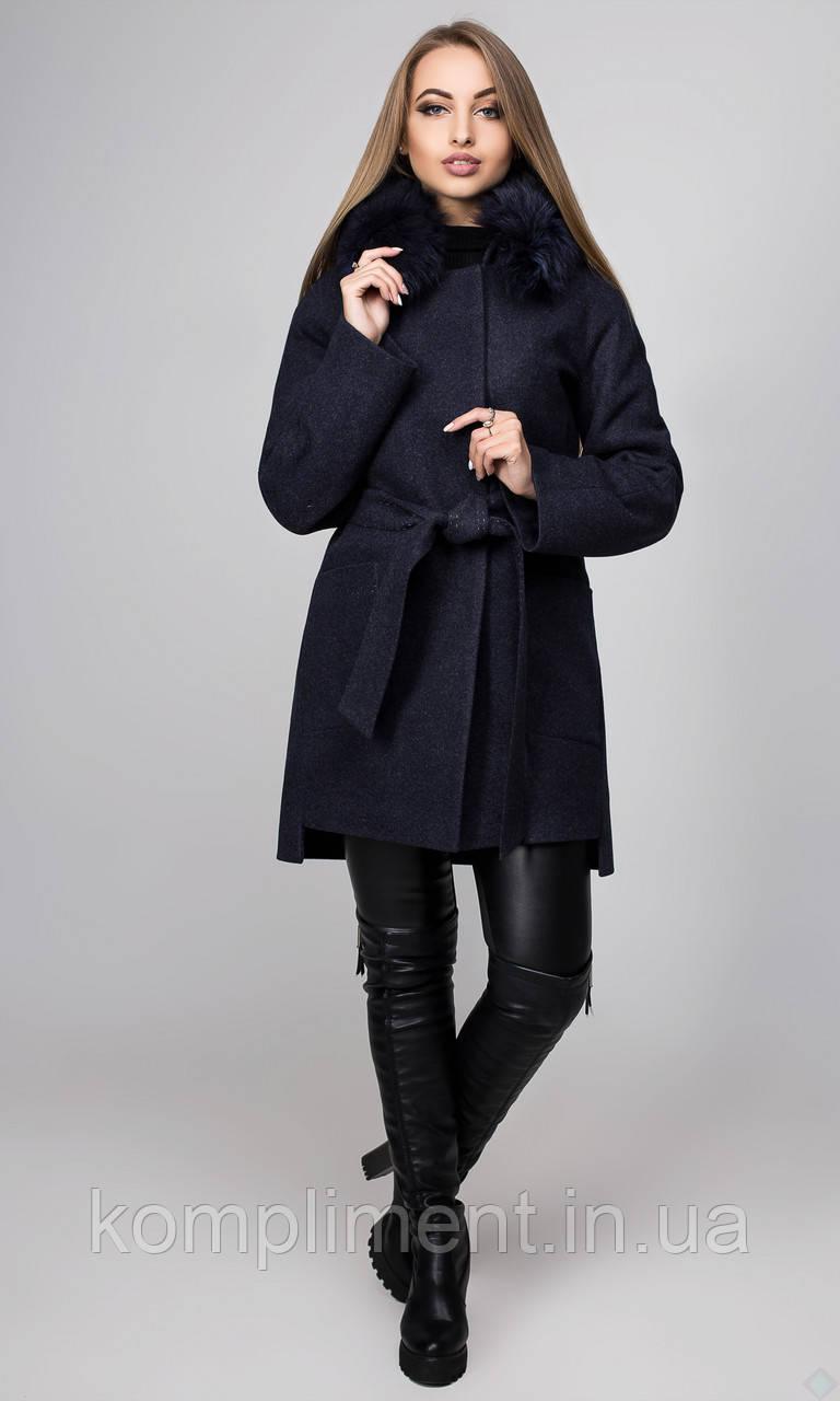 """Пальто жіноче зимове з утеплювачем """"Бельгія"""",PB2397, темно - синій"""