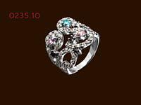 Серебряное женское кольцо  с цирконами Сказка, фото 1