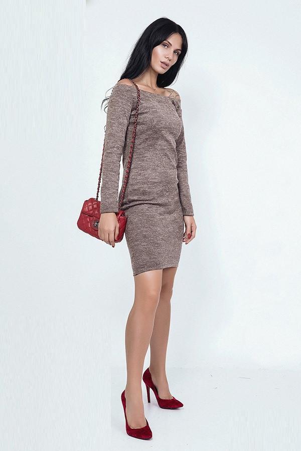 Облегающее короткое платье из ангоры 39457 (42–54р) в расцветках