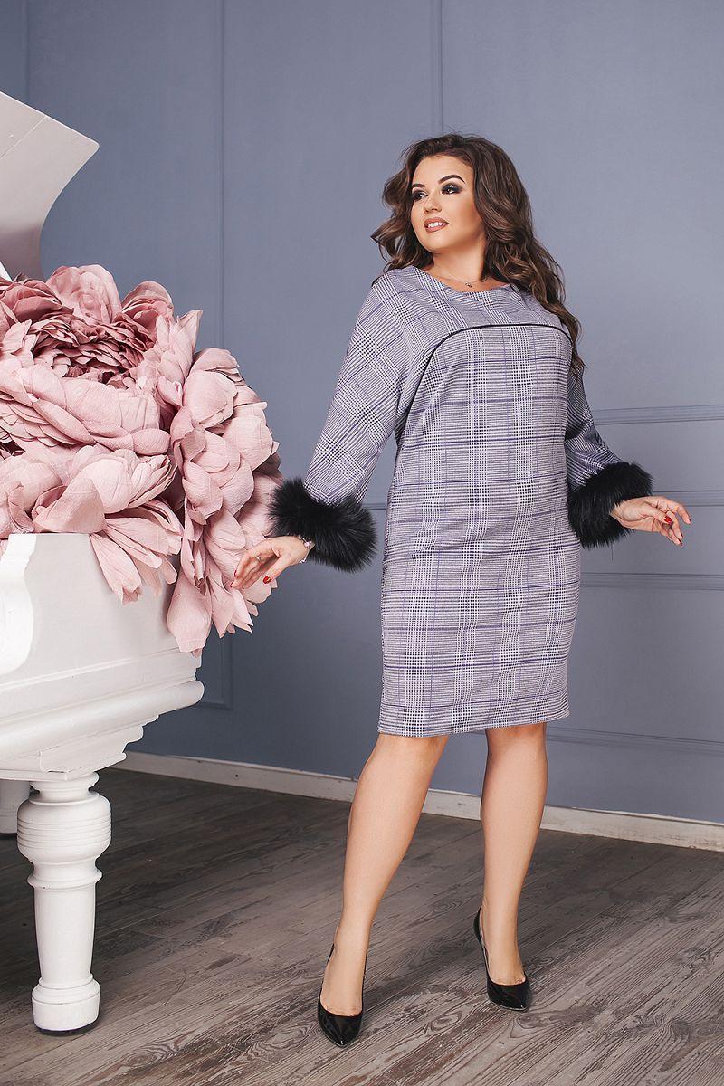 Элегантное прямое клетчатое платье с рукавами украшенными пышным мехом, батал большие размеры