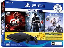 Игровая консоль PlayStation 4 Slim 500 Gb Black (HZD+GTS+UC4+PSPlus 3М)