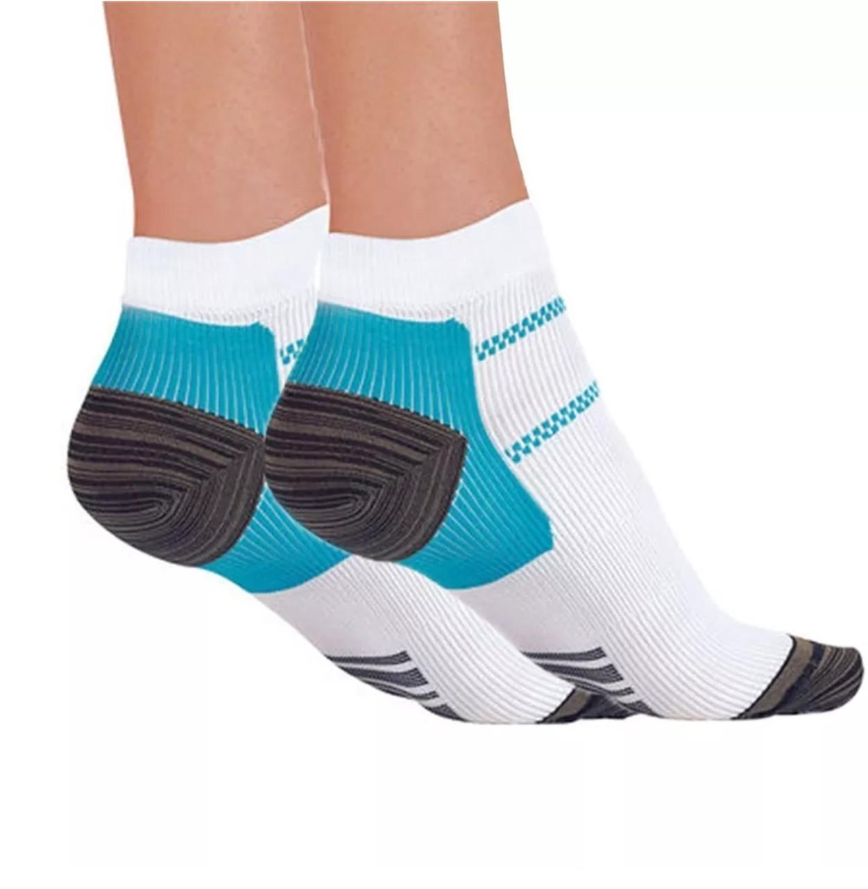 Компрессионные носки для спорта и бега (1 пара) для мужчин и женщин бело-голубые