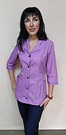 Женский медицинский костюм Зина на пуговицах три четверти рукав 42, фиолет/синий