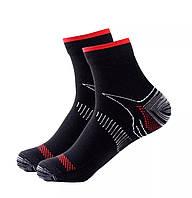 Компрессионные носки для спорта и бега (1 пара) для мужчин и женщин черно-красные