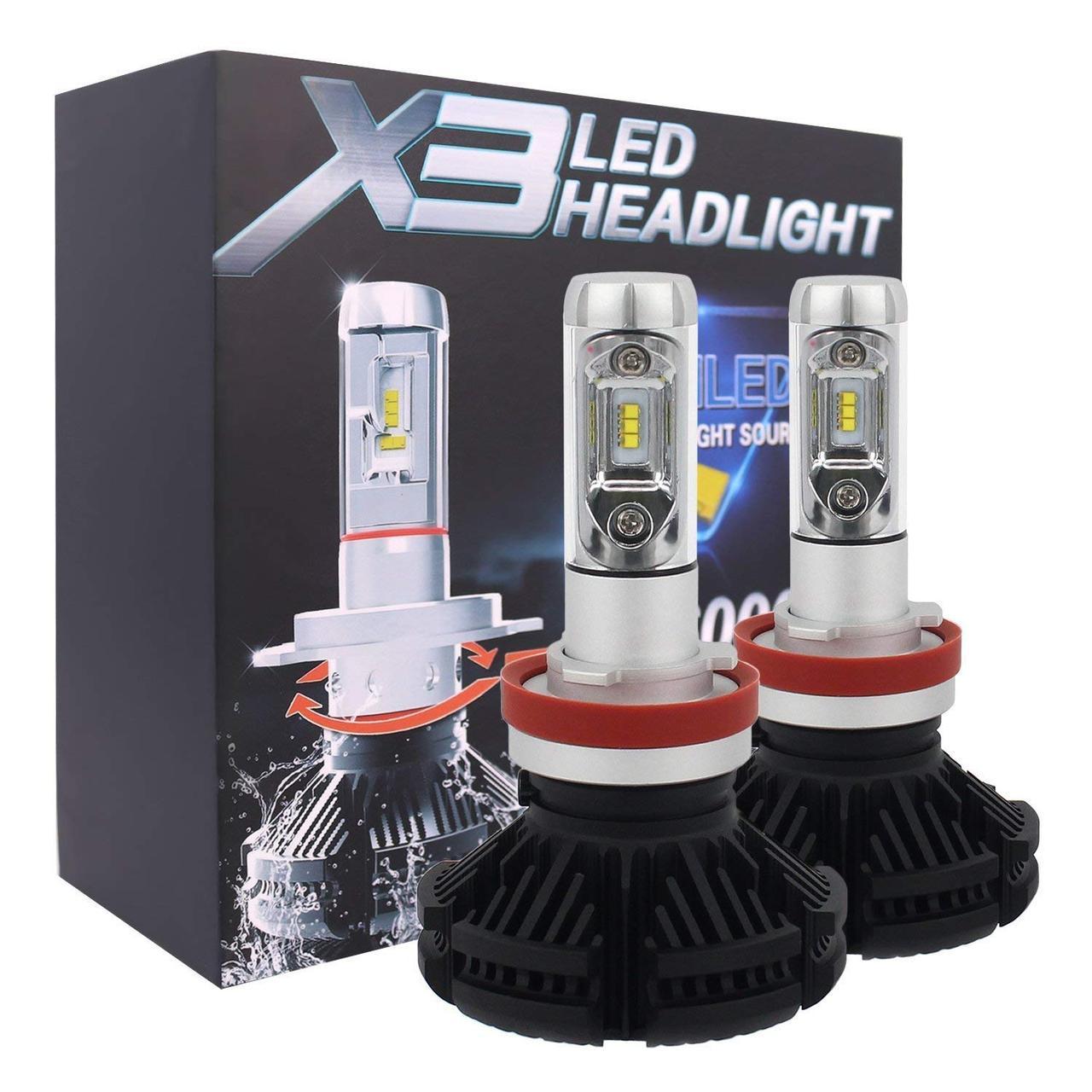 Лампа светодиодная X3  H11 6000 Lum, цвет свечения 3000/6500/8000К, 2 шт/компл.
