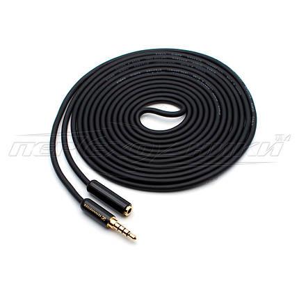 Кабель удлинитель аудио 3.5 мм 4-pin  (высокое качество(тип 1))  в экране, фото 2