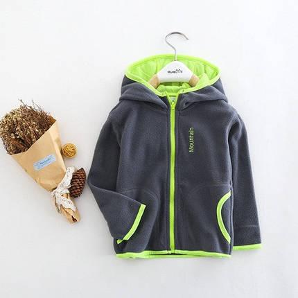 Кофта детская на мальчика на  флисе  серая  с капюшоном размер 100, фото 2