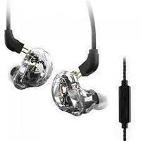 Навушники двухдрайверные дротові QKZ VK1 Mic з якісним звучанням Білий
