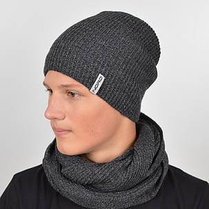 "Тёплый комплект ""600"" шапка+баф полушерсть, фото 2"