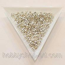 Бусины  Кримп 3 мм (зажимные) св. серебро (вес 6 г)