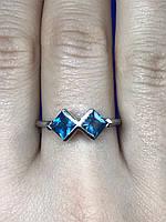Серебряное кольцо с камнем синий Жадеит