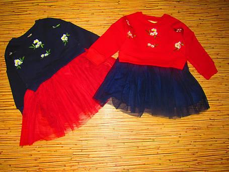 Нарядное детское платье на девочку утепленное синее 120 размер, фото 2