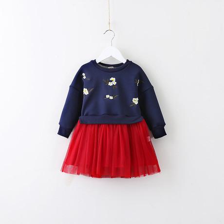 Нарядное детское платье на девочку утепленное синее 120 размер