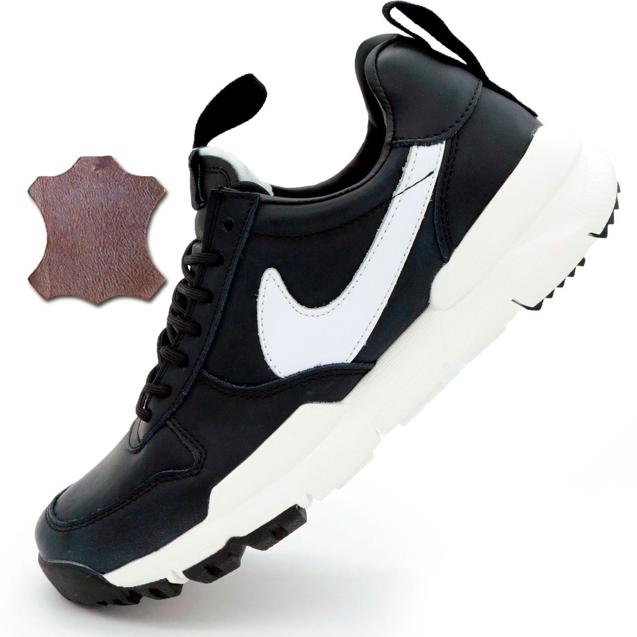 bf309e19f0a0 Черные мужские кожаные кроссовки Найк Nike Mars Yard 2.0 Топ качество! р.(42