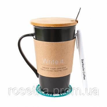 Керамічна чашка Starbucks Memo, Старбакс Мемо оригінальна кружка-органайзер для гарячих напоїв
