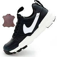 Черные мужские кожаные кроссовки Найк Nike Mars Yard 2.0 Топ качество! - Реплика р.(42, 43)
