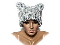 Шапка, женская вязаная шапка, шапка с ушками, HandMade шапка, модная стильная шапка