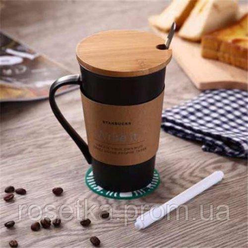 Керамическая чашка Starbucks Memo Старбакс Мемо с ложкой и маркером