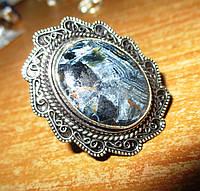 """Серебряное кольцо с петерситом """"Синее пламя"""", размер 18,5 от Студии  www.LadyStyle.Biz, фото 1"""
