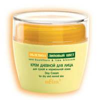 Крем дневной для лица с маслом облепихи, экстрактами облепихи и липового цвета для сухой и нормальной  кожи -