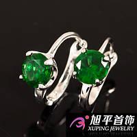 Серьги родиум с зеленым камнем