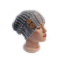 Шапка, женская вязаная шапка, HandMade шапка, модная стильная шапка, шапка с пуговицами, фото 1