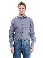 Приталенная мужская рубашка серая меланжевая, 100% хлопок