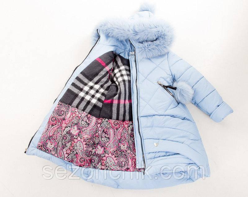 Зимнее детское пальто с мехом на девочек Украина