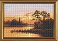 """Набор для вышивки нитками """"Закат над озером"""""""
