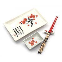 """Сервиз для суши """"Белый с сакурой"""" (28х14 см)(1 персона)"""