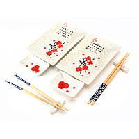 "Сервиз для суши ""Белый с цветами сакуры"" (28х28,3х3,5 см) (2 персоны)"