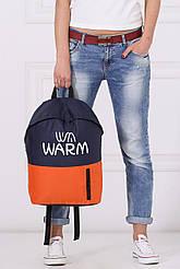 Сине-оранжевый рюкзак унисекс WARM с карманом для ноутбука