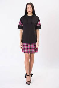 Чёрное трикотажное платье-туника PARSY в клетку с капюшоном на завязках
