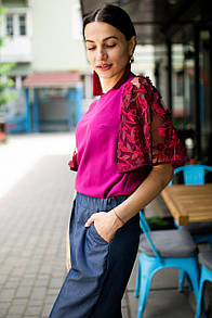 Бордовая блуза ABELLA с широкими кружевными рукавами