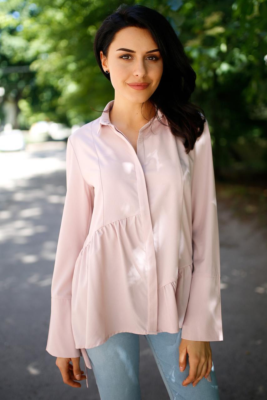 85462d756b6 Пудровая классическая блуза ALMAZ для офиса с широким воланом и длинными  рукавами на завязках