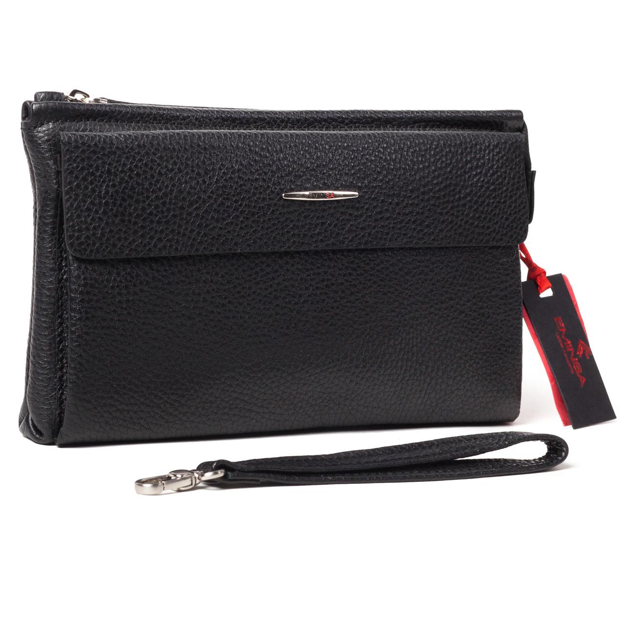 Мужской  клатч кожаный чёрный Eminsa 5013-12-1
