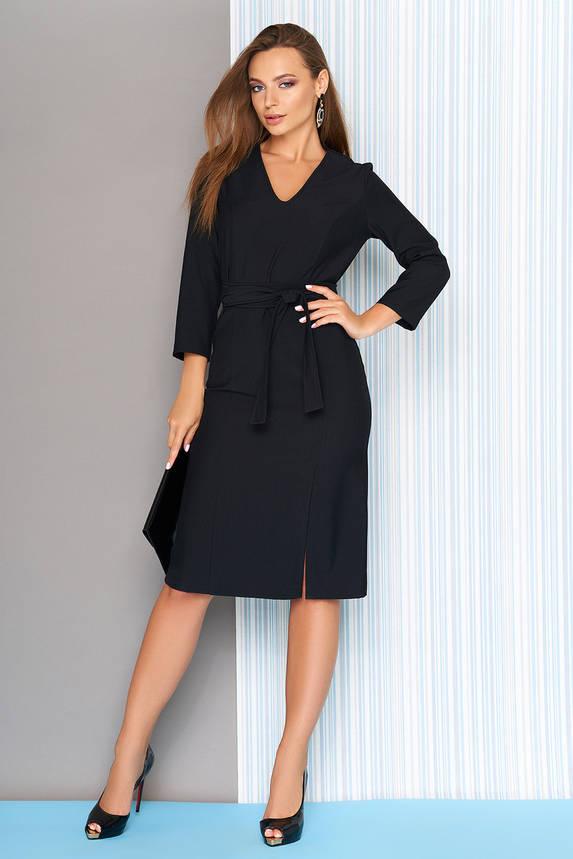 Деловое платье с поясом и разрезом 44-50р черное, фото 2