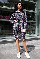 Темно-синее платье-рубашка AVALON в розочки с планкой на пуговицах и с разрезами