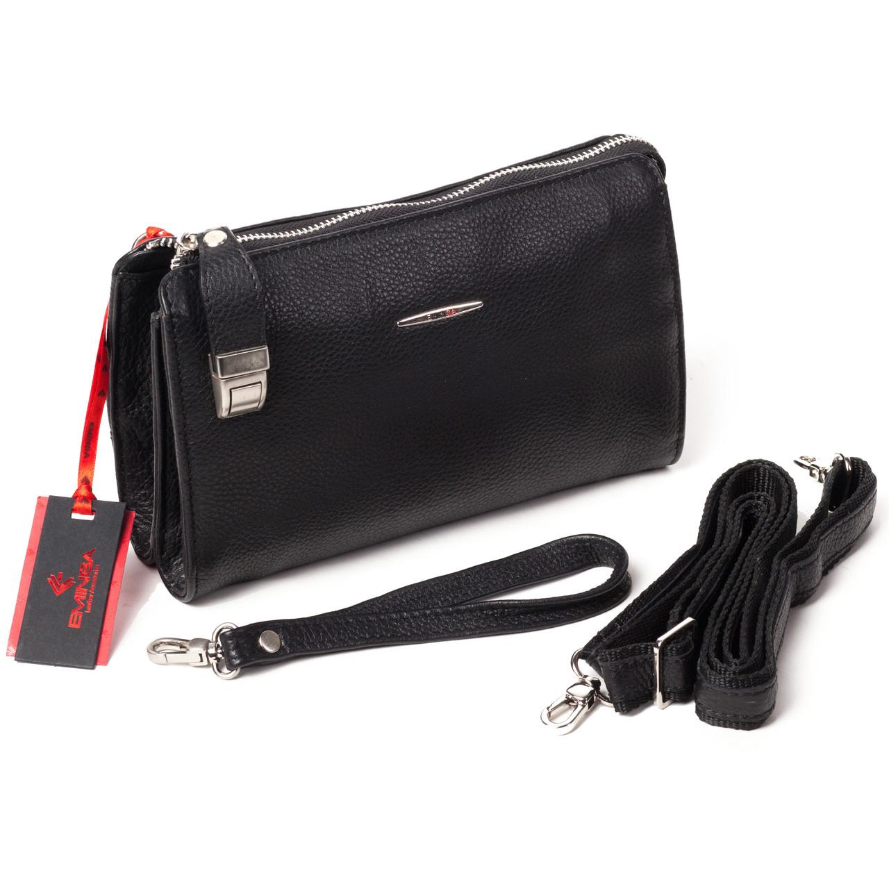Мужской клатч кожаный чёрный Eminsa 5091-18-1