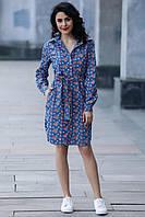 Светло-синее платье-рубашка AVALON в розочки с планкой на пуговицах и с разрезами