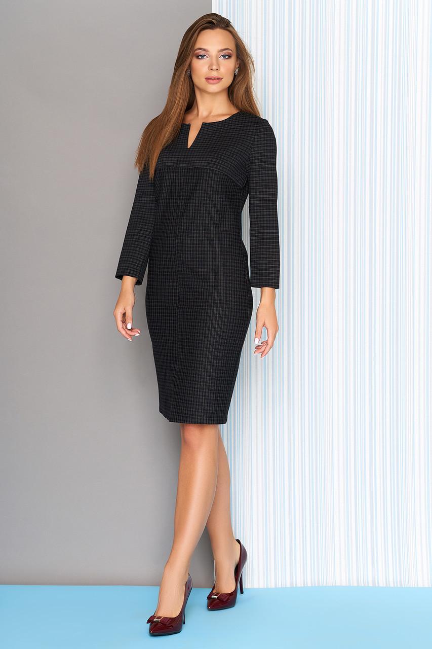 Офисное трикотажное платье в клетку 44-50р черное