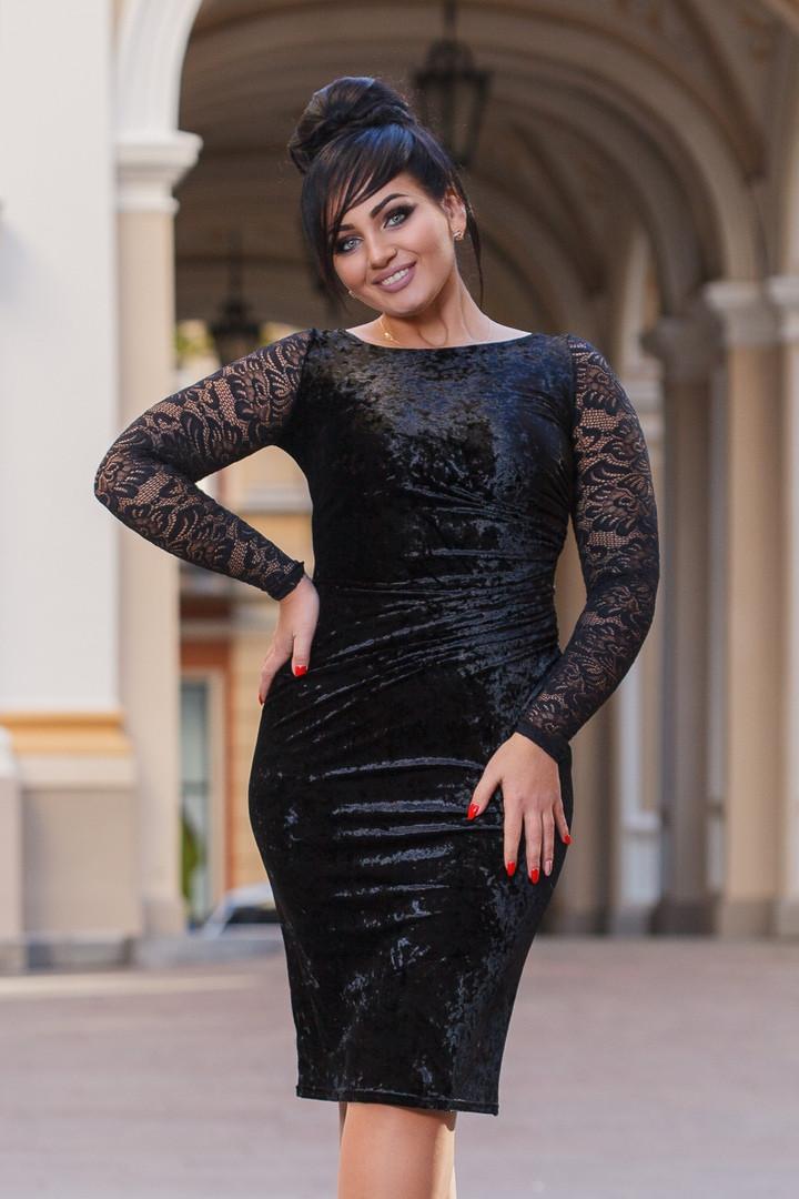 b8f1915af48558c Бархатное черное платье, цена 470 грн., купить в Одессе — Prom.ua ...