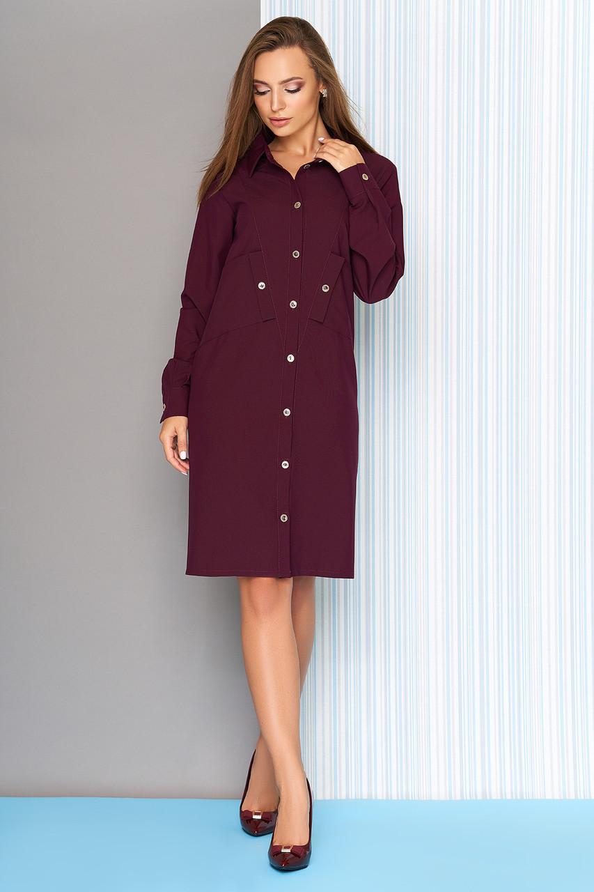 Бордовое платье рубашка с косыми карманами 44-54р