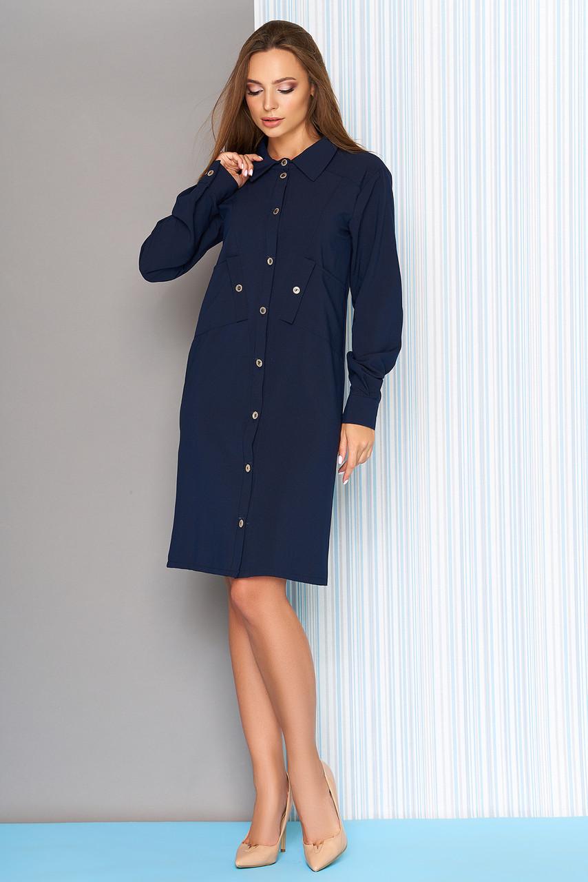 Платье рубашка с косыми карманами 44-54р